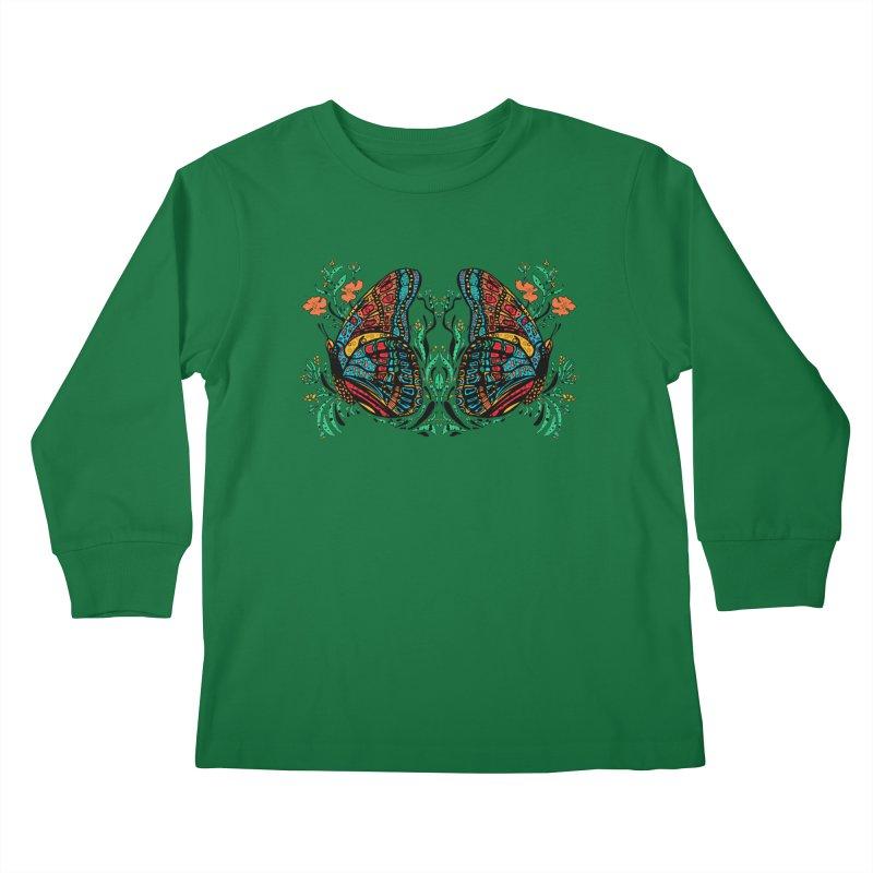 Turquoise Butterfly Kids Longsleeve T-Shirt by jandeangelis's Artist Shop
