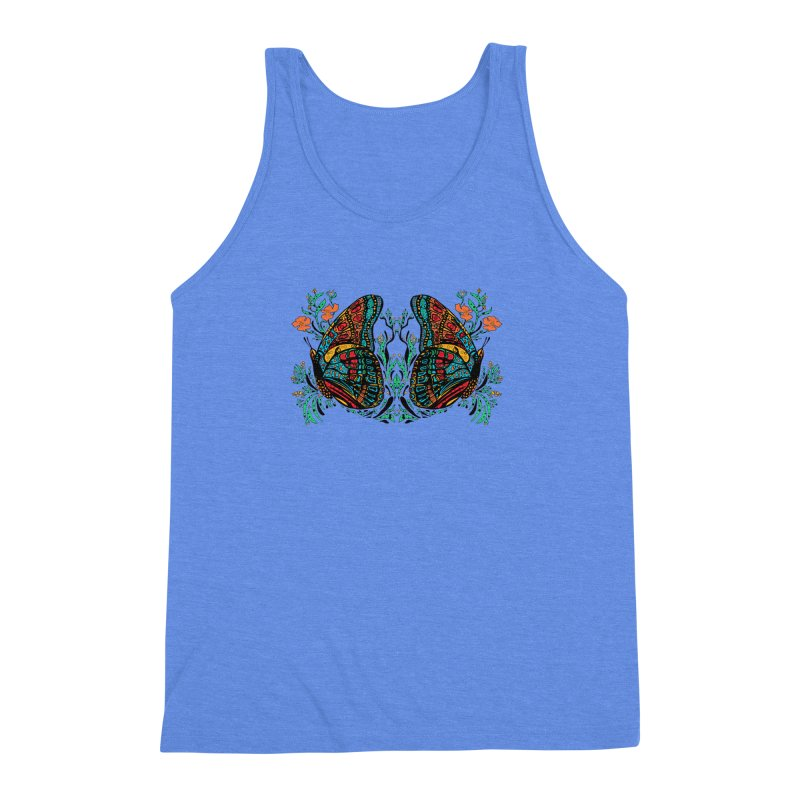 Turquoise Butterfly Men's Triblend Tank by jandeangelis's Artist Shop