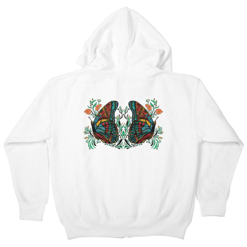 Turquoise Butterfly Kids Zip-Up Hoody by jandeangelis's Artist Shop