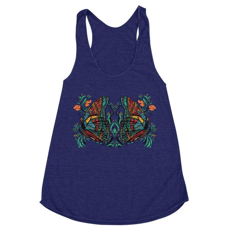 Turquoise Butterfly Women's Racerback Triblend Tank by jandeangelis's Artist Shop