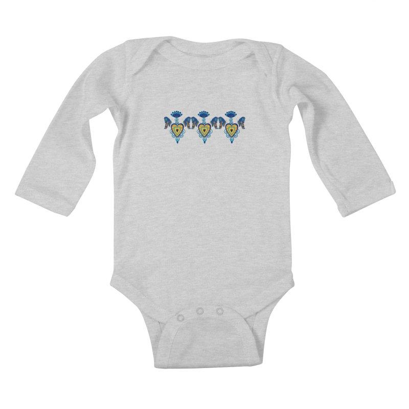 Jeweled Heart Butterflies Kids Baby Longsleeve Bodysuit by jandeangelis's Artist Shop