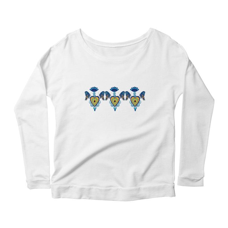 Jeweled Heart Butterflies Women's Longsleeve Scoopneck  by jandeangelis's Artist Shop