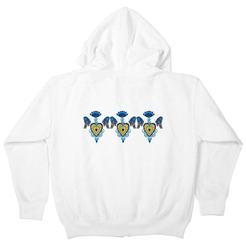 Jeweled Heart Butterflies Kids Zip-Up Hoody by jandeangelis's Artist Shop