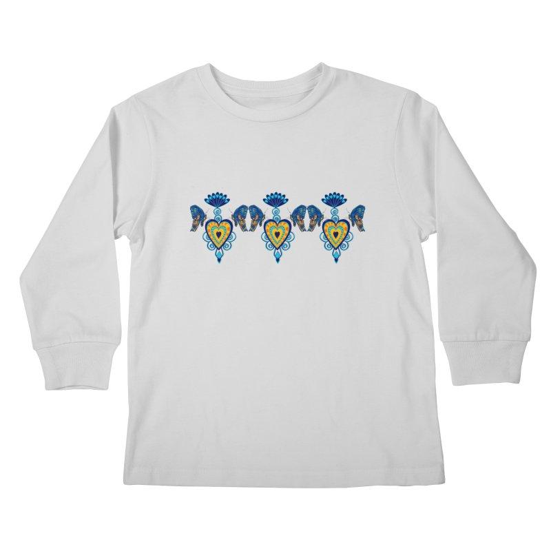 Jeweled Heart Butterflies Kids Longsleeve T-Shirt by jandeangelis's Artist Shop
