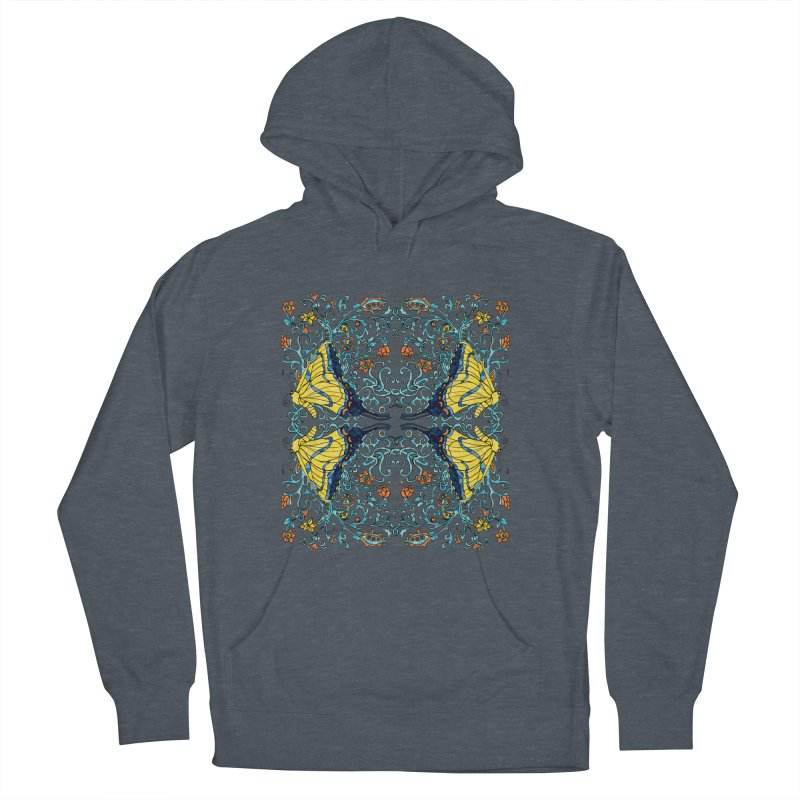 Butterflies in Vines Women's French Terry Pullover Hoody by jandeangelis's Artist Shop