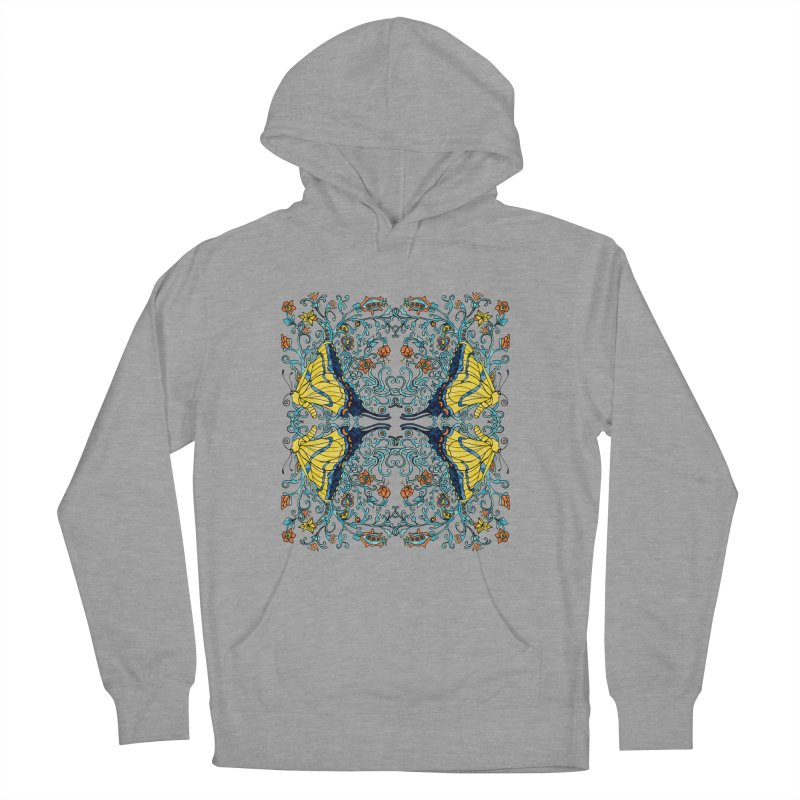 Butterflies in Vines Men's French Terry Pullover Hoody by jandeangelis's Artist Shop