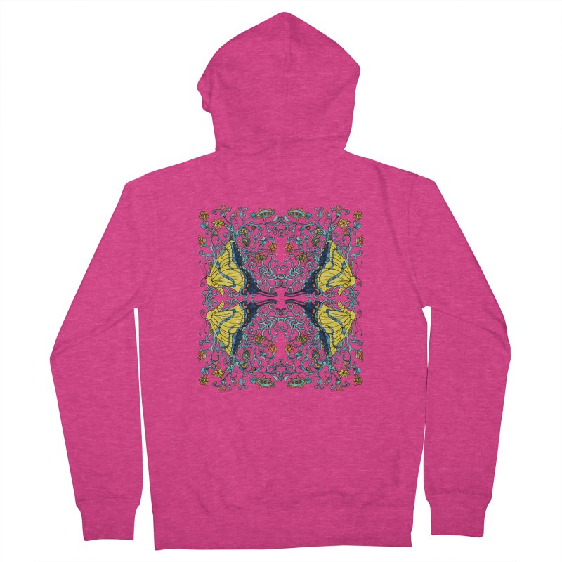 Butterflies in Vines Women's French Terry Zip-Up Hoody by jandeangelis's Artist Shop