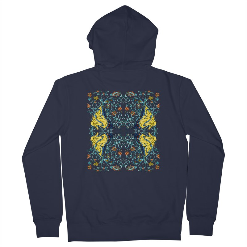 Butterflies in Vines Men's Zip-Up Hoody by jandeangelis's Artist Shop