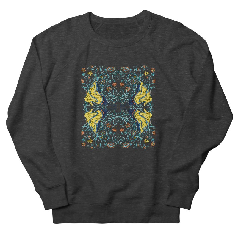 Butterflies in Vines Women's French Terry Sweatshirt by jandeangelis's Artist Shop