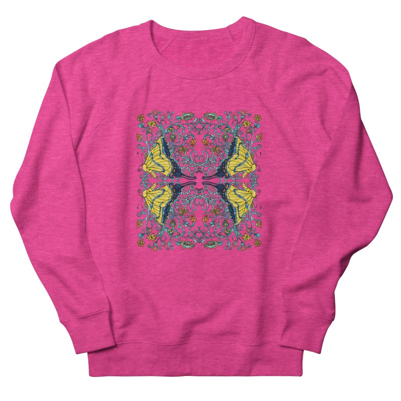 Butterflies in Vines Women's French Terry Sweatshirt by jandeangelis's Artist Shop