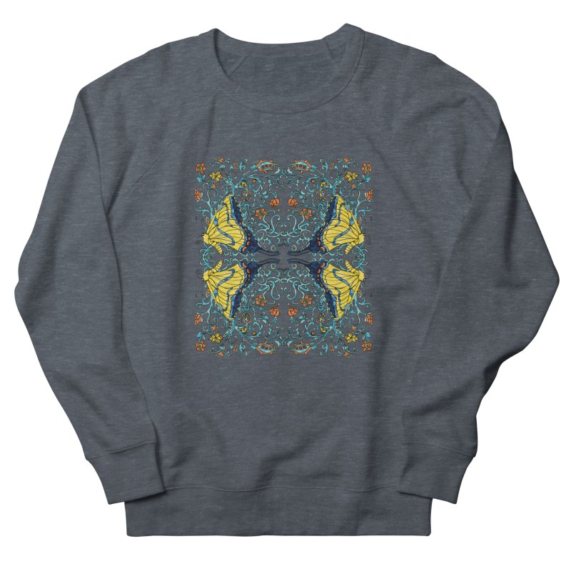 Butterflies in Vines Men's French Terry Sweatshirt by jandeangelis's Artist Shop