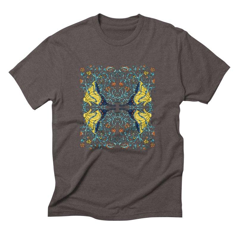 Butterflies in Vines Men's Triblend T-Shirt by jandeangelis's Artist Shop