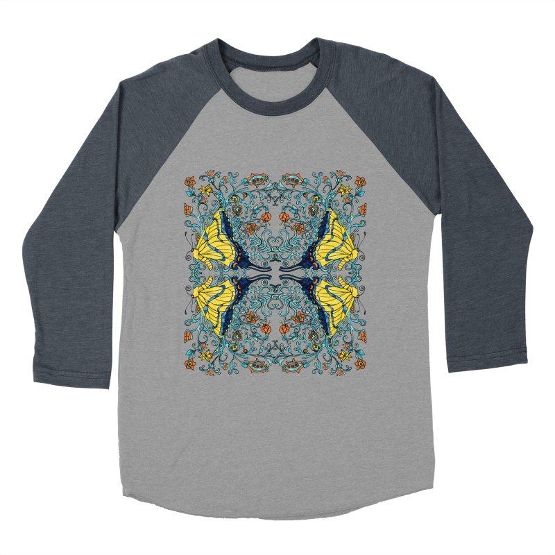 Butterflies in Vines Men's Baseball Triblend Longsleeve T-Shirt by jandeangelis's Artist Shop