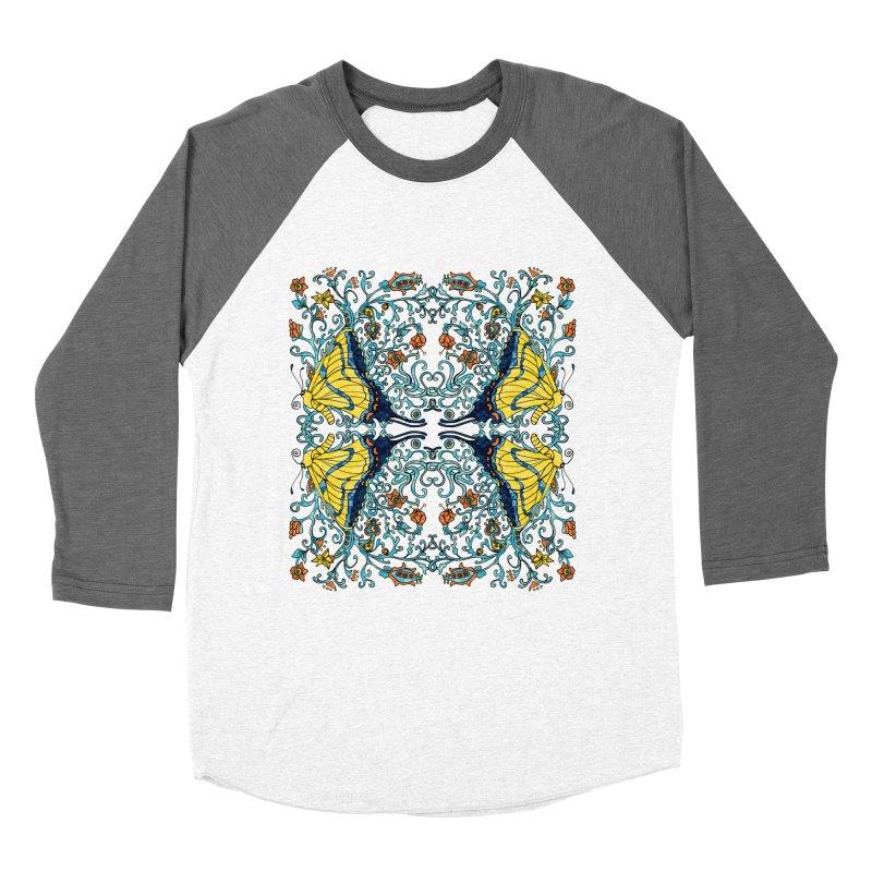Butterflies in Vines Men's Baseball Triblend T-Shirt by jandeangelis's Artist Shop