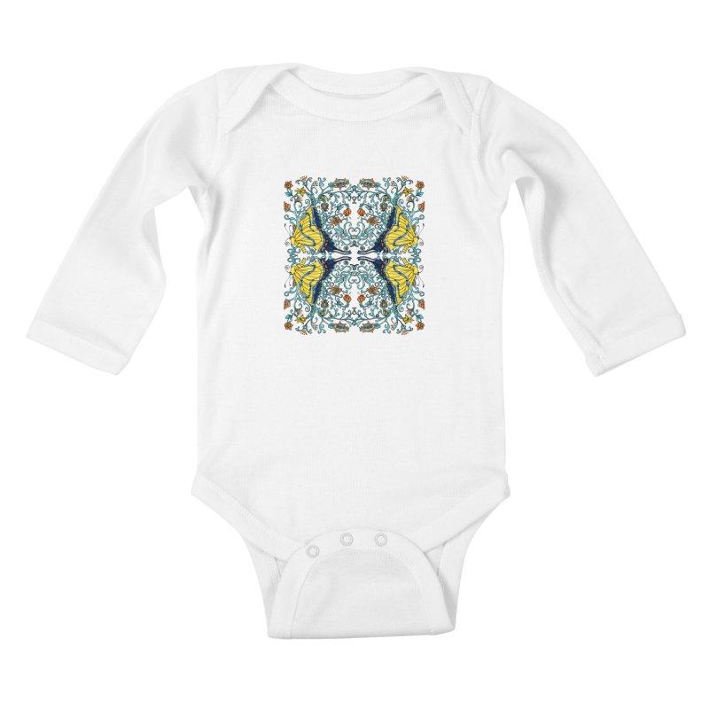 Butterflies in Vines Kids Baby Longsleeve Bodysuit by jandeangelis's Artist Shop