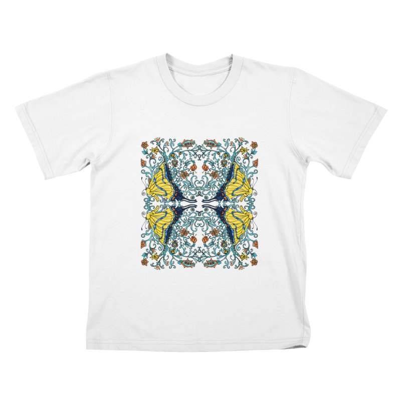 Butterflies in Vines Kids T-Shirt by jandeangelis's Artist Shop