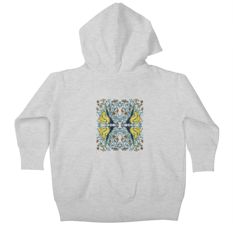Butterflies in Vines Kids Baby Zip-Up Hoody by jandeangelis's Artist Shop