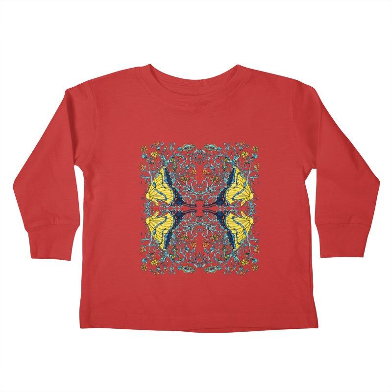 Butterflies in Vines Kids Toddler Longsleeve T-Shirt by jandeangelis's Artist Shop