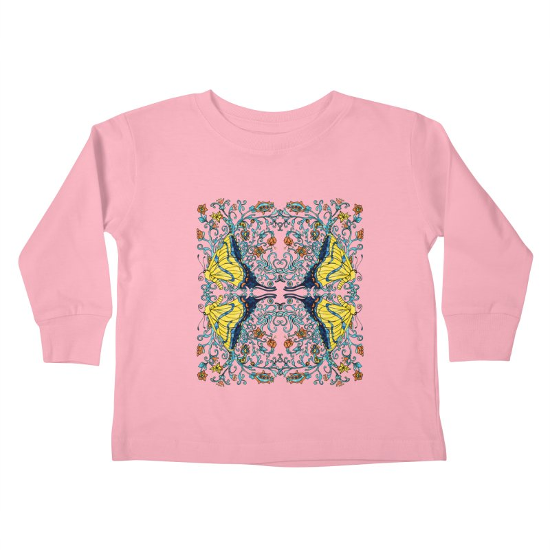 Butterflies in Vines Kids Toddler Longsleeve T-Shirt by jandeangelis's Artist Shop