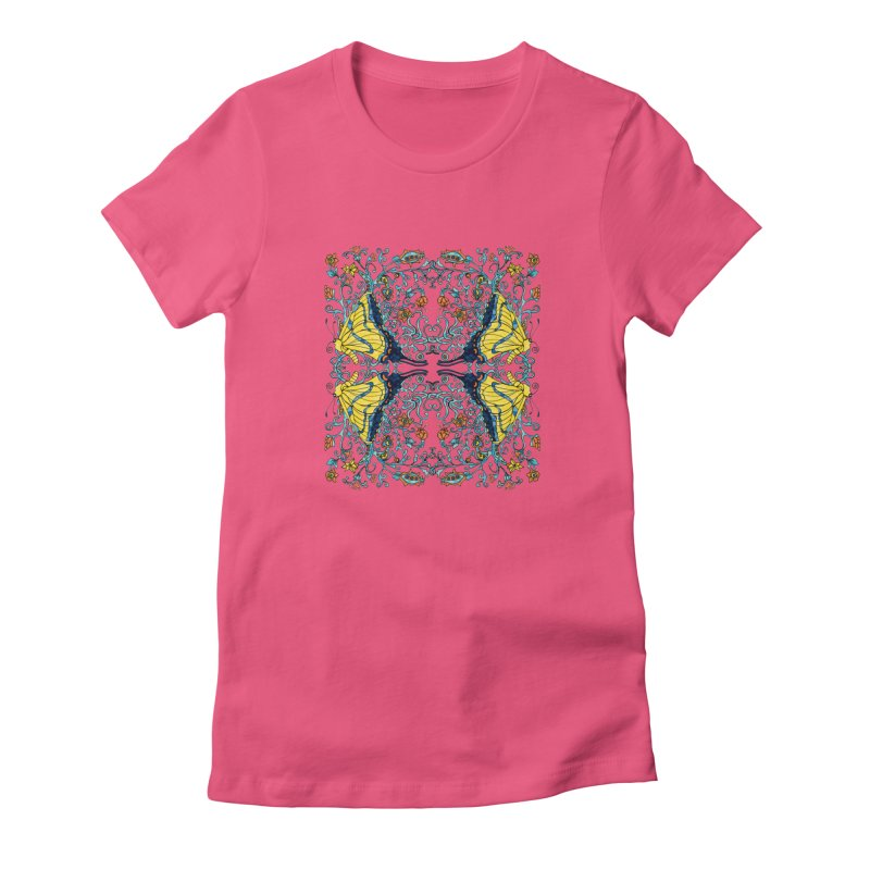 Butterflies in Vines Women's T-Shirt by jandeangelis's Artist Shop
