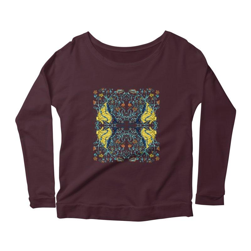 Butterflies in Vines Women's Scoop Neck Longsleeve T-Shirt by jandeangelis's Artist Shop