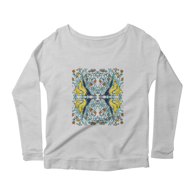 Butterflies in Vines Women's Scoop Neck Longsleeve T-Shirt by jandeangelis's Artist Shop
