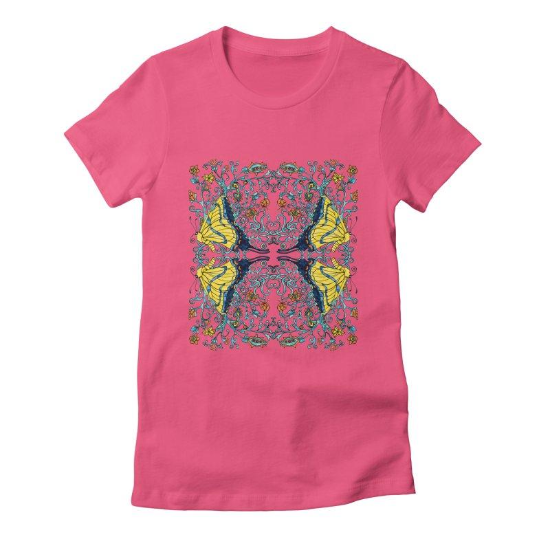 Butterflies in Vines Women's Fitted T-Shirt by jandeangelis's Artist Shop