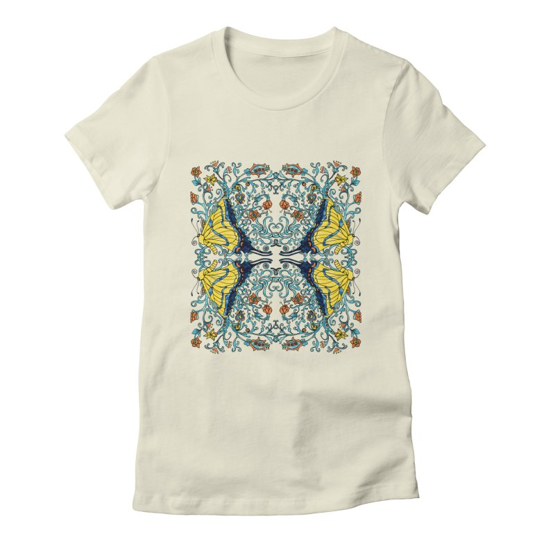 Butterflies in Vines Women's Fitted T-Shirt by jandeangelis's Artist Shop