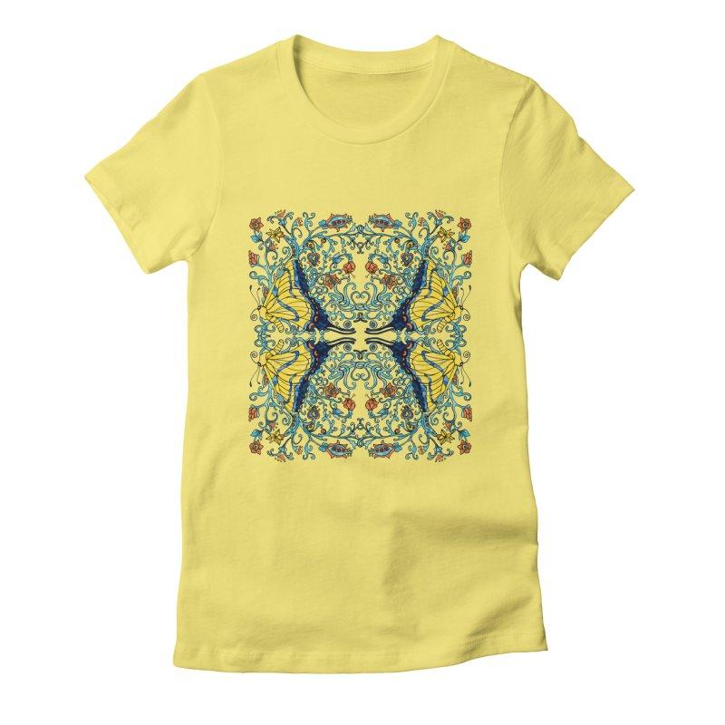 Butterflies in Vines Women's T-Shirt by jandeangelis's Artist Shop