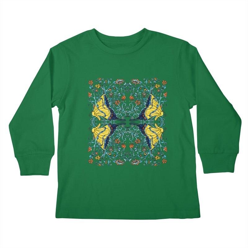 Butterflies in Vines Kids Longsleeve T-Shirt by jandeangelis's Artist Shop