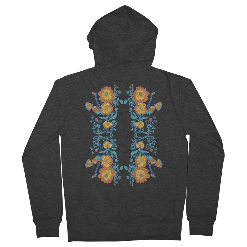 Butterfly Flowers and Bees Women's French Terry Zip-Up Hoody by jandeangelis's Artist Shop