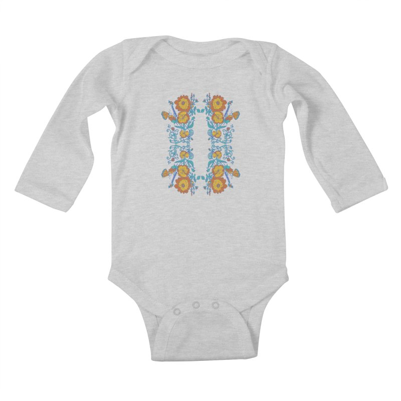 Butterfly Flowers and Bees Kids Baby Longsleeve Bodysuit by jandeangelis's Artist Shop