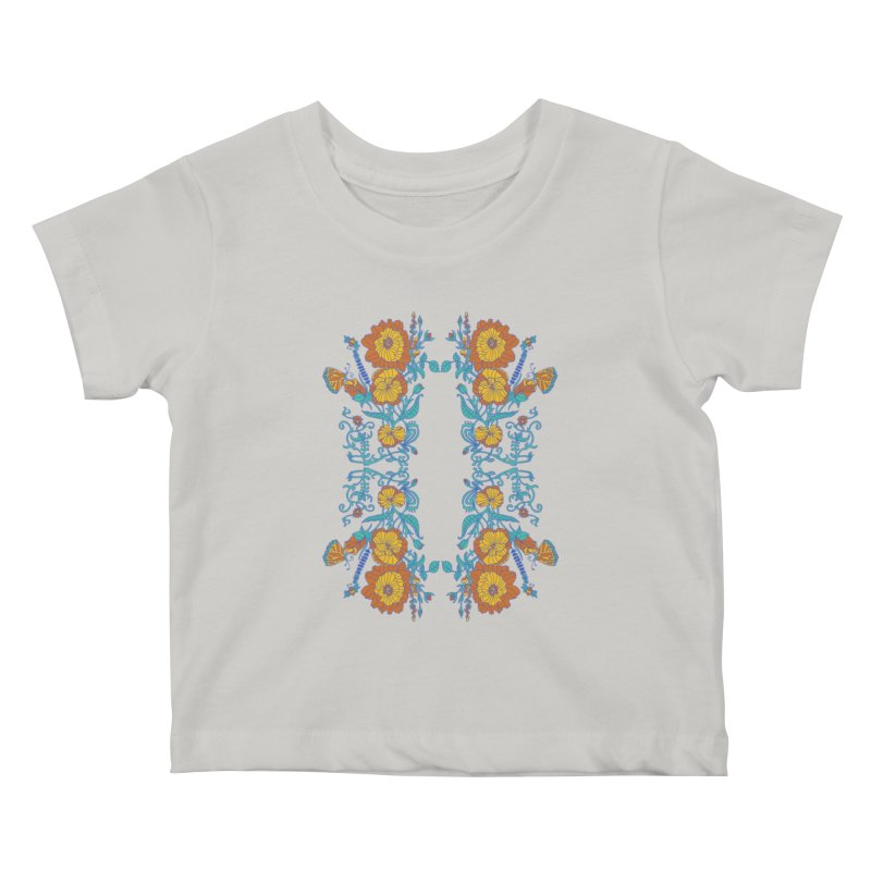 Butterfly Flowers and Bees Kids Baby T-Shirt by jandeangelis's Artist Shop