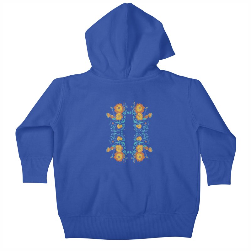Butterfly Flowers and Bees Kids Baby Zip-Up Hoody by jandeangelis's Artist Shop