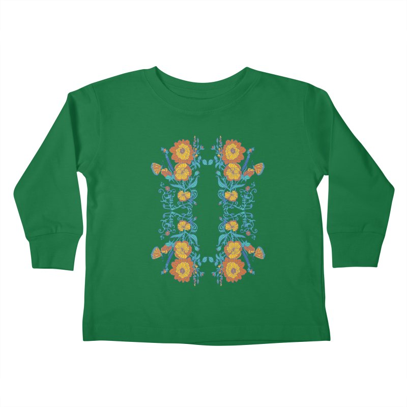 Butterfly Flowers and Bees Kids Toddler Longsleeve T-Shirt by jandeangelis's Artist Shop