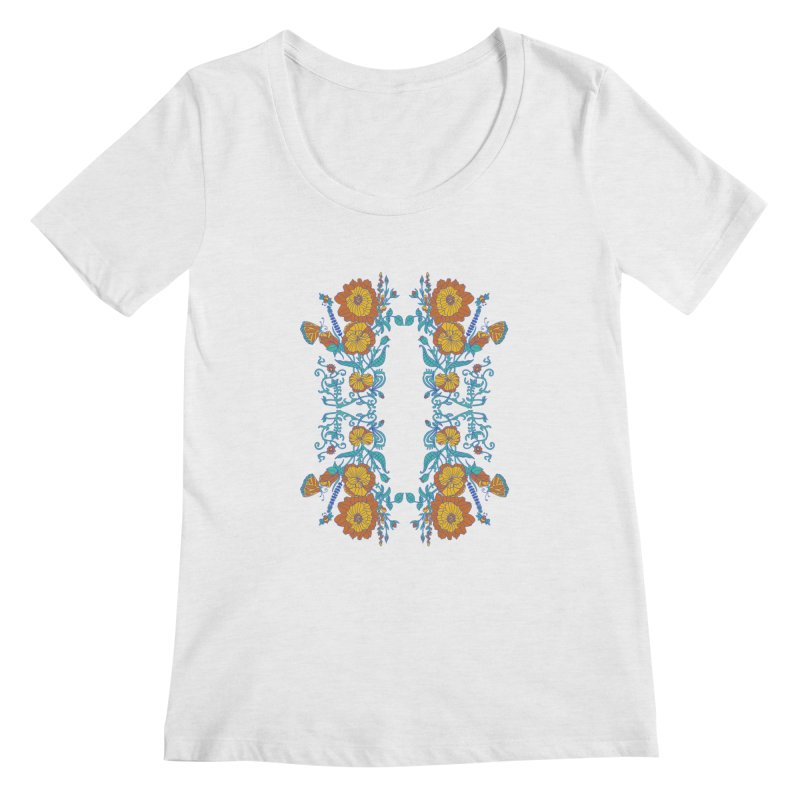 Butterfly Flowers and Bees Women's Regular Scoop Neck by jandeangelis's Artist Shop