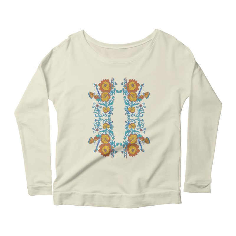 Butterfly Flowers and Bees Women's Scoop Neck Longsleeve T-Shirt by jandeangelis's Artist Shop