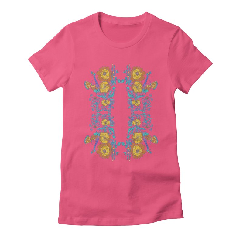Butterfly Flowers and Bees Women's Fitted T-Shirt by jandeangelis's Artist Shop