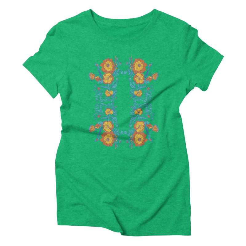 Butterfly Flowers and Bees Women's Triblend T-shirt by jandeangelis's Artist Shop
