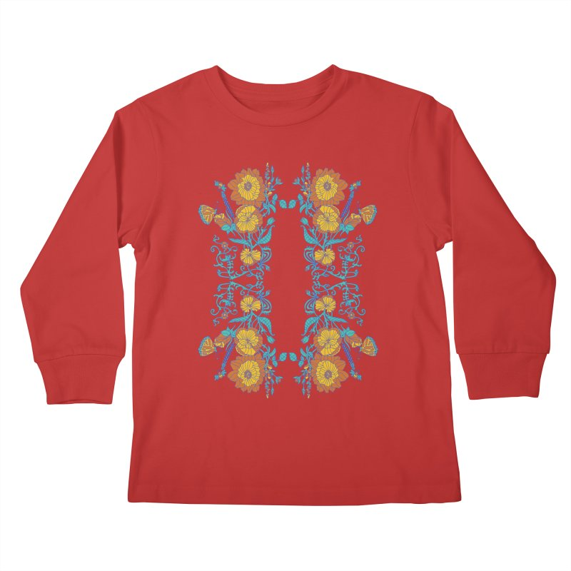 Butterfly Flowers and Bees Kids Longsleeve T-Shirt by jandeangelis's Artist Shop