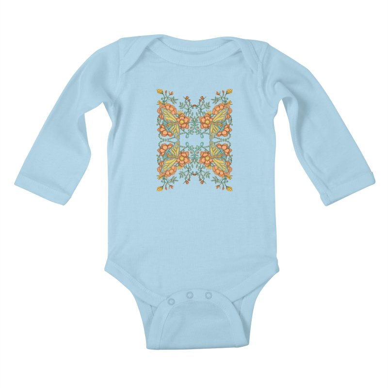 Victorian Butterfly In Summer Kids Baby Longsleeve Bodysuit by jandeangelis's Artist Shop