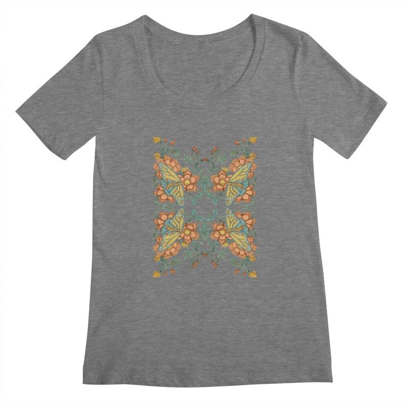Victorian Butterfly In Summer Women's Scoopneck by jandeangelis's Artist Shop