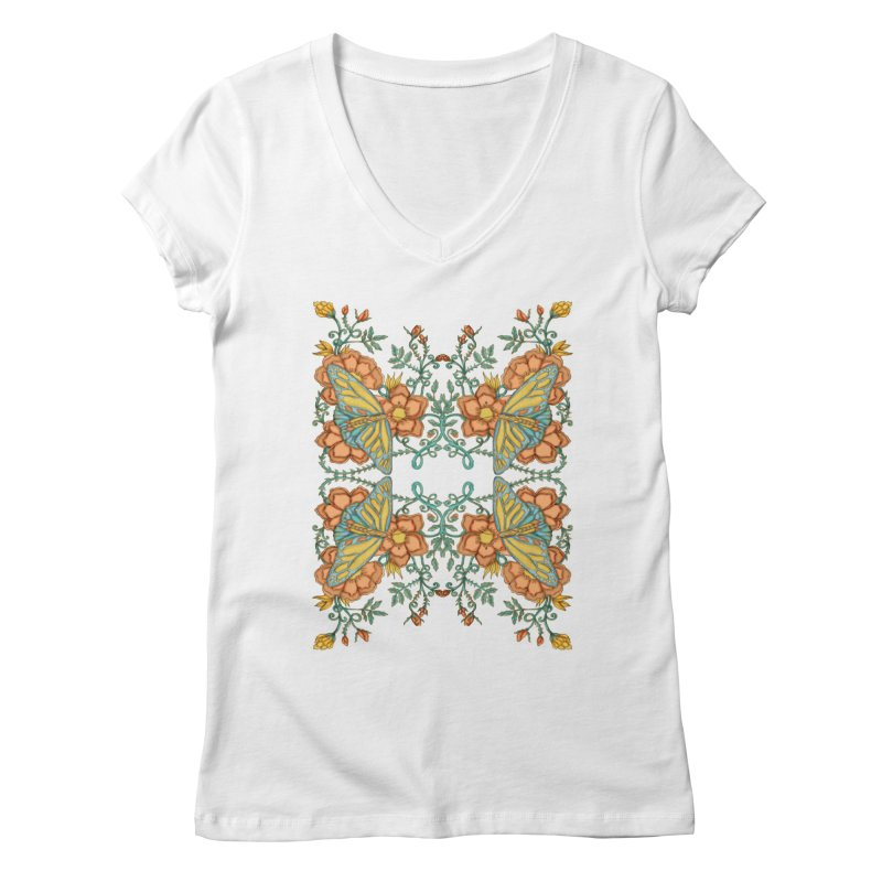 Victorian Butterfly In Summer Women's Regular V-Neck by jandeangelis's Artist Shop