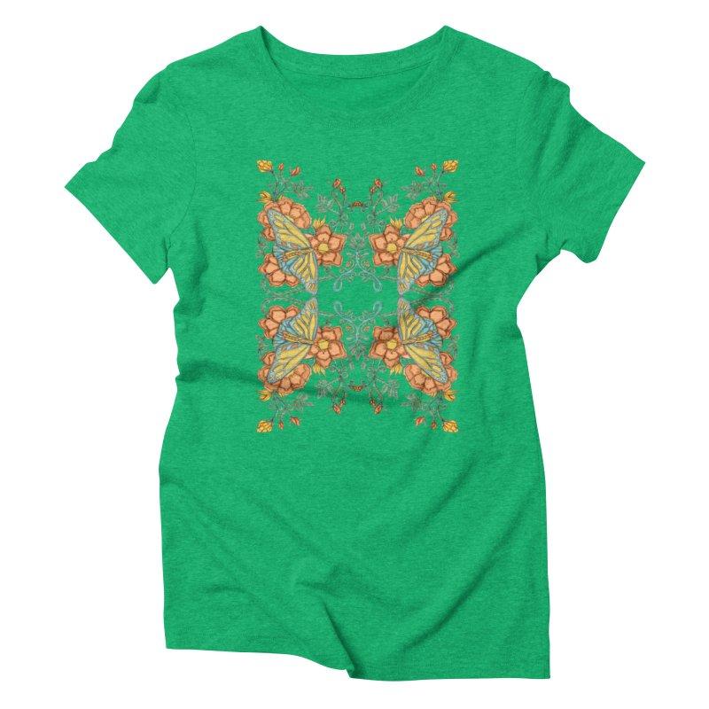 Victorian Butterfly In Summer Women's Triblend T-shirt by jandeangelis's Artist Shop