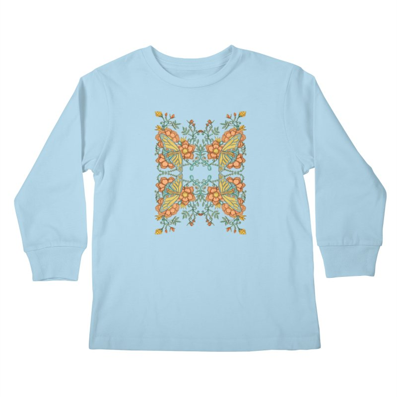 Victorian Butterfly In Summer Kids Longsleeve T-Shirt by jandeangelis's Artist Shop