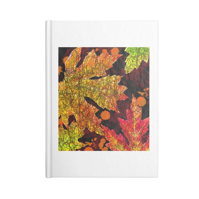 Fall Leaves Accessories Lined Journal Notebook by jandeangelis's Artist Shop
