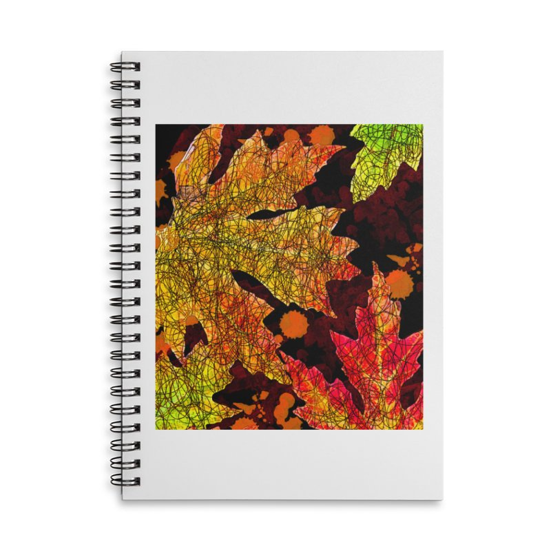 Fall Leaves Accessories Lined Spiral Notebook by jandeangelis's Artist Shop