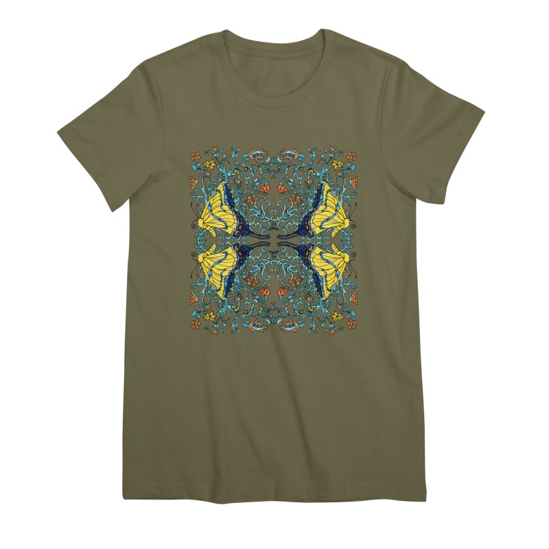 Art nouveau Flowers and Butterflies Women's Premium T-Shirt by jandeangelis's Artist Shop