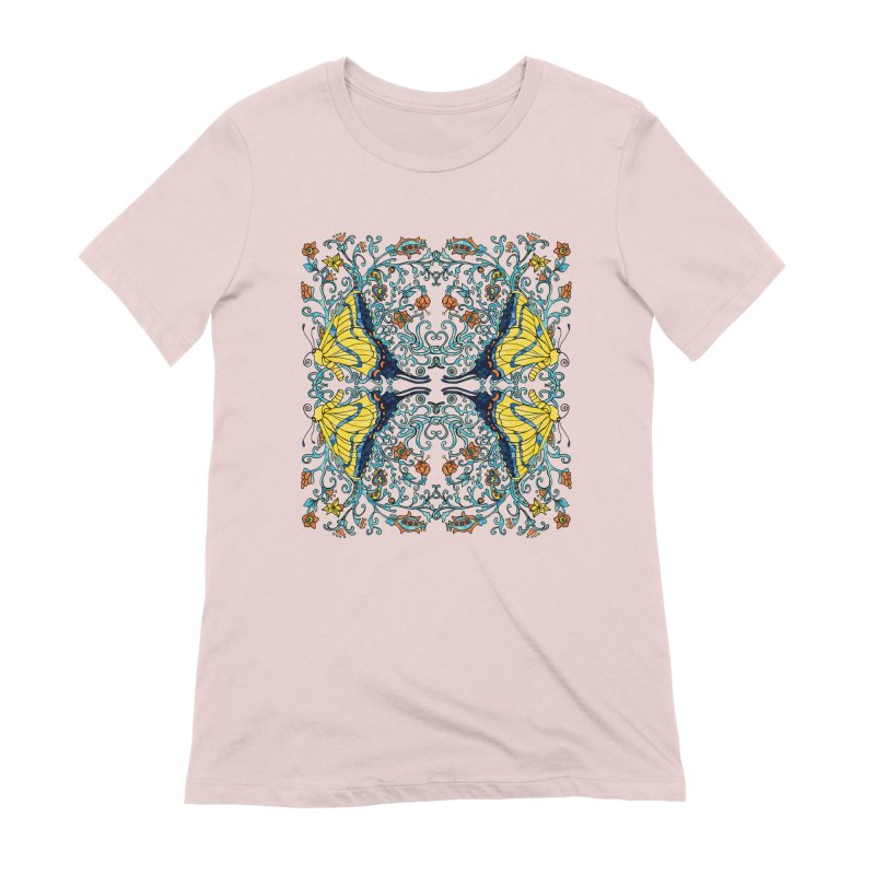 Art nouveau Flowers and Butterflies Women's Extra Soft T-Shirt by jandeangelis's Artist Shop