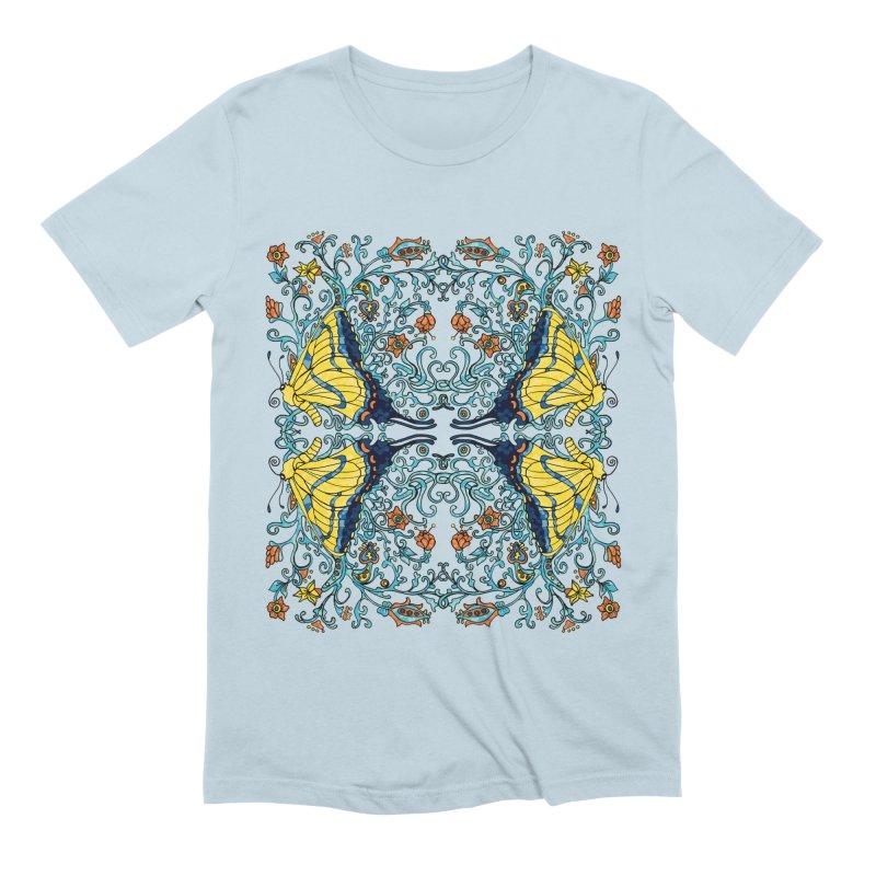 Art nouveau Flowers and Butterflies Men's Extra Soft T-Shirt by jandeangelis's Artist Shop